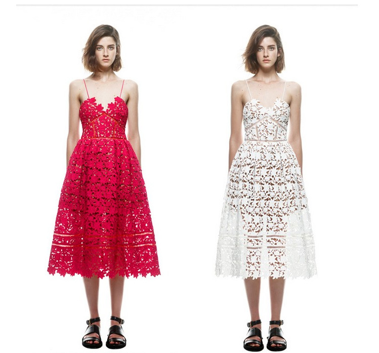 2015 New arrive Women self portrait handmade white and red hot sale sexy flower lace dress party dresses vestidos