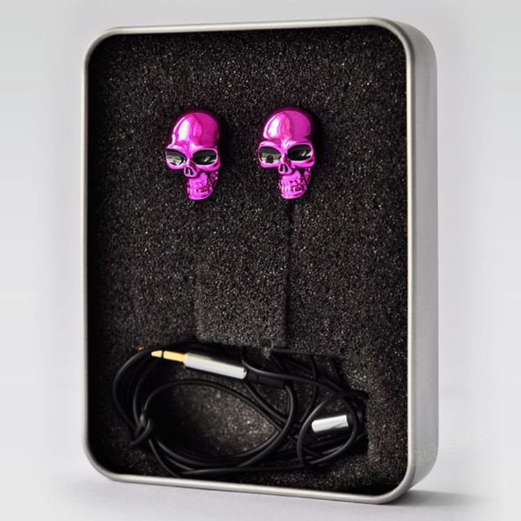 Hot Newest Earphone Trend 3.5mm Retail Red Skull Design Earplugs & Mic For HTC Radar C110E(China (Mainland))
