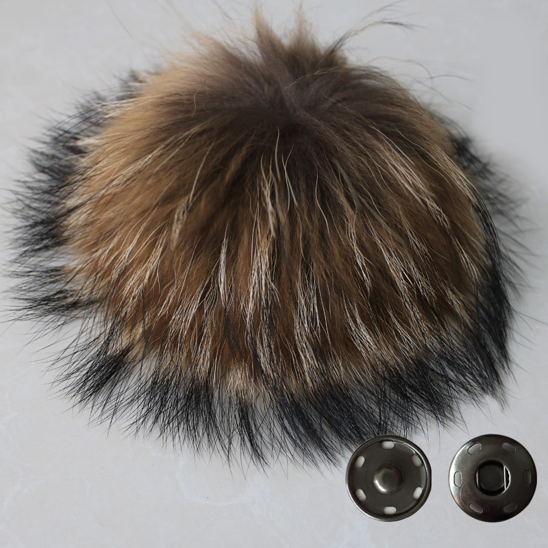 Free Shipping 15-16cm 100% real raccoon fur ball key chain fur hat winter hats pom pom for shoes fur cap accessories(China (Mainland))