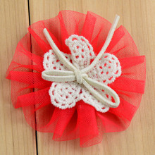 1000pcs/lot handmade tulle flower with bow for baby girls