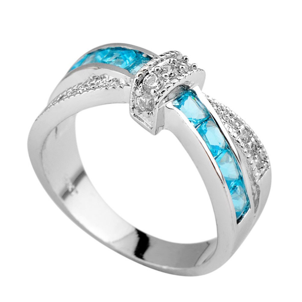 Top quality aquamarine sapphrie female ring white gold for Wedding rings for male and female