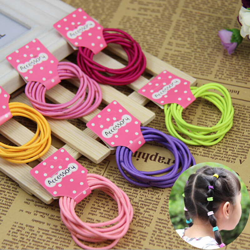10 pcs/lot Cheap 2015 korean Fashion Cute Kids Elastic Hair Rope Ponytail Holder Band Ties Girls Hair Accessories free shipping(China (Mainland))