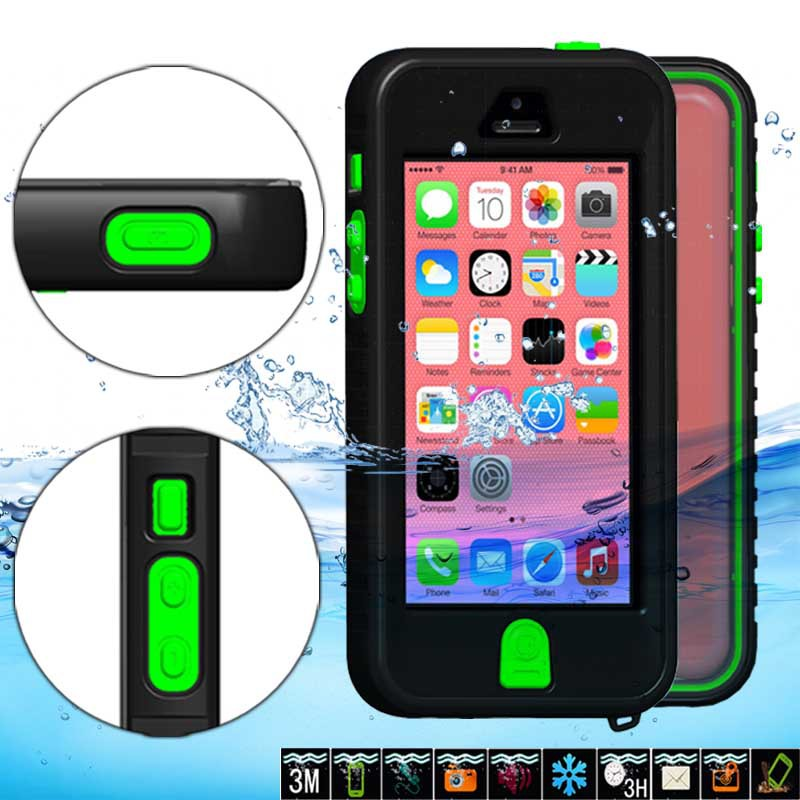 Waterproof Cover Case For iPhone 5 5s 5c Plastic+Silicon With Keys Button Cases For Apple iPhone 5 Water/Dirt/Shock Proof Capa(China (Mainland))