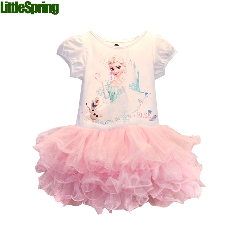 2015 New Girls Dresses Vestidos Elsa Dress Kids Snow Queen Children Clothing Summer Girl Lace Dress Princess Anna Party Dress(China (Mainland))