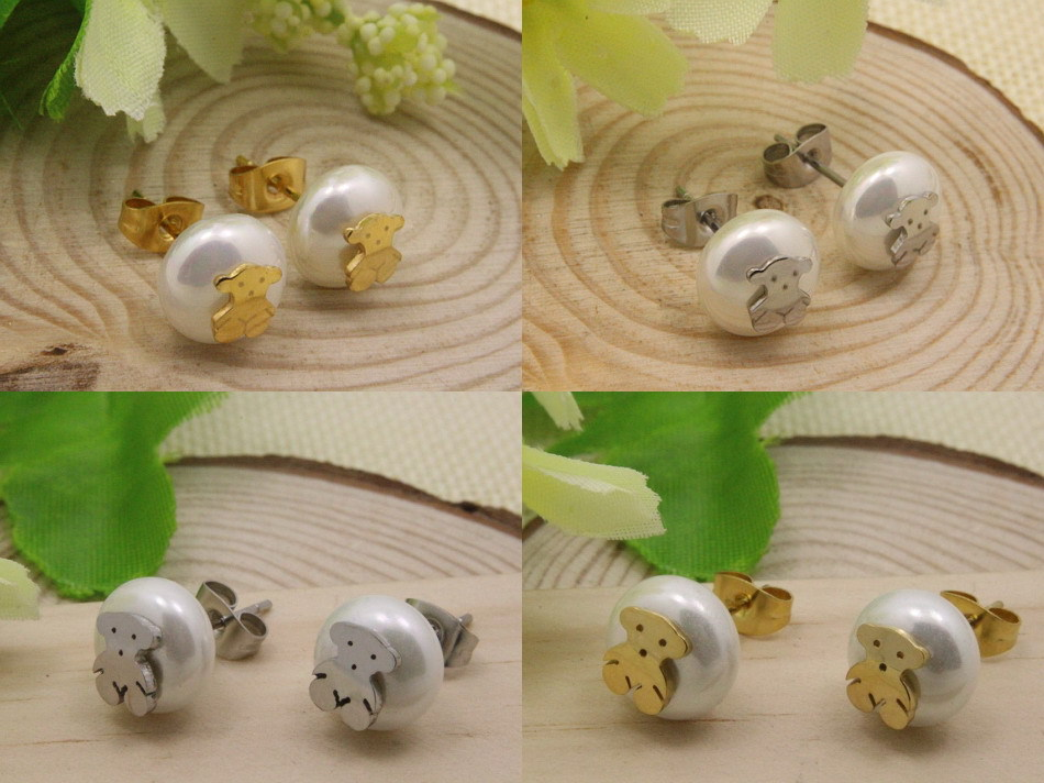 Stainless Steel Jewelry Stud Pearl Earrings With Gold and silver color Plate Bear Fashion For Women Hot Sell(China (Mainland))