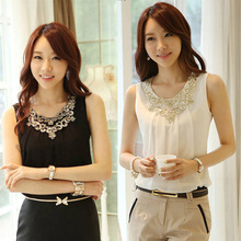Newest Lady's Pure Color Pleated Shirt Career Blouse Sleeveless Vest Chiffon Tops(China (Mainland))