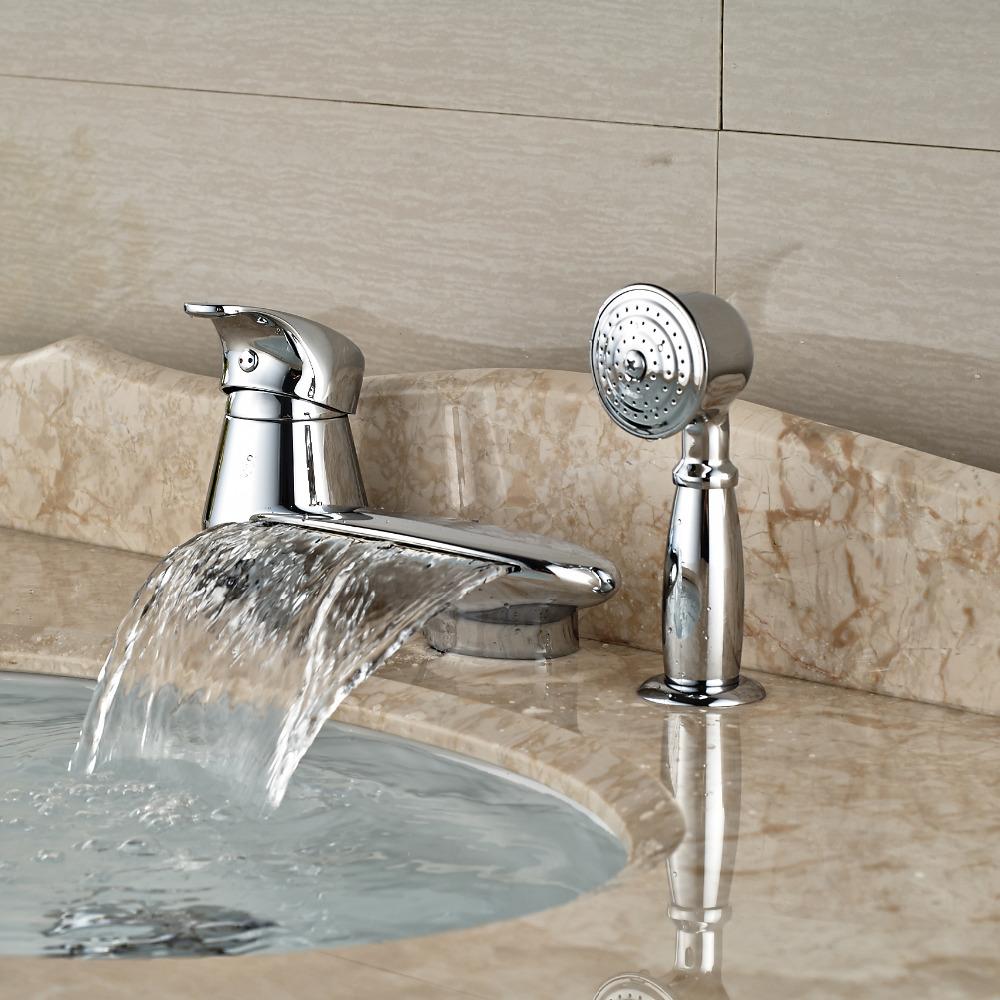 3 Hole Tub Faucet : ... Bathtub-Mixer-Faucet-with-Brass-Handshower-Deck-Mount-3-Hole-Tub