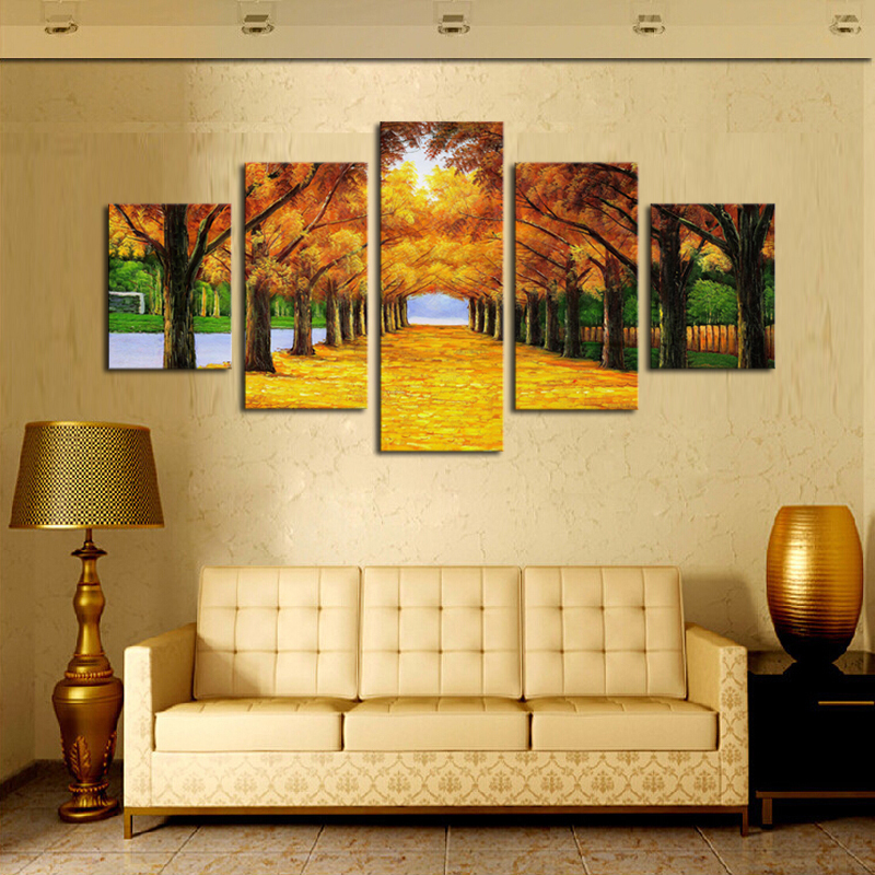buy unframed 5 panels nature yellow goldentrees canvas print painting modern. Black Bedroom Furniture Sets. Home Design Ideas