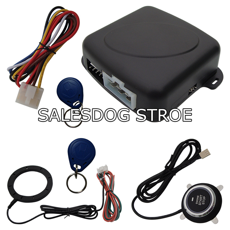 Stock In USA Universal RFID Car Alarm System With Finger Touch Engine Start Stop Push Button And 2 Immobilizer Transponders(China (Mainland))