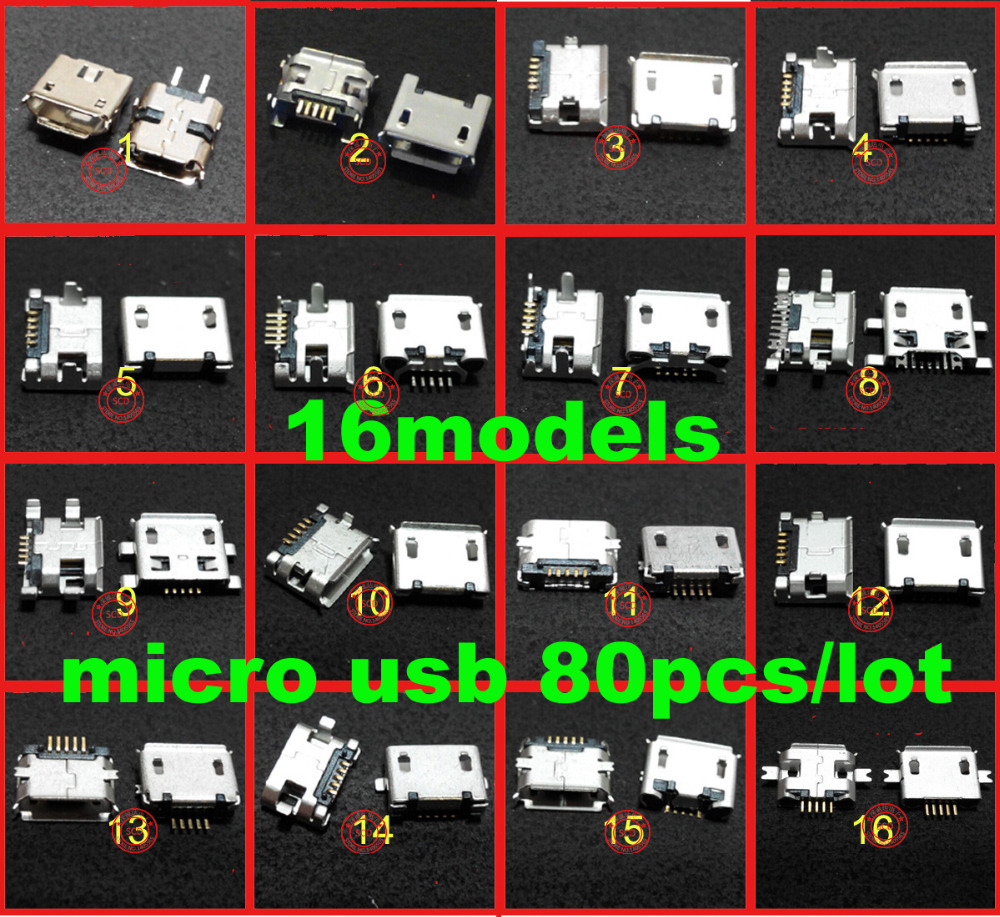 free shipping 16model/80piece 5pin micro usb jack charging port for sansung laptop plug notebook(China (Mainland))