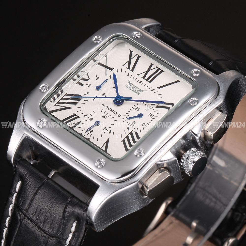 2016 Luxury Silver Square Relojes Date/Week/24H Elegant Wrap Gift Wrist  Mens Automatic Mechanical Mechanical Watch / KS095<br><br>Aliexpress