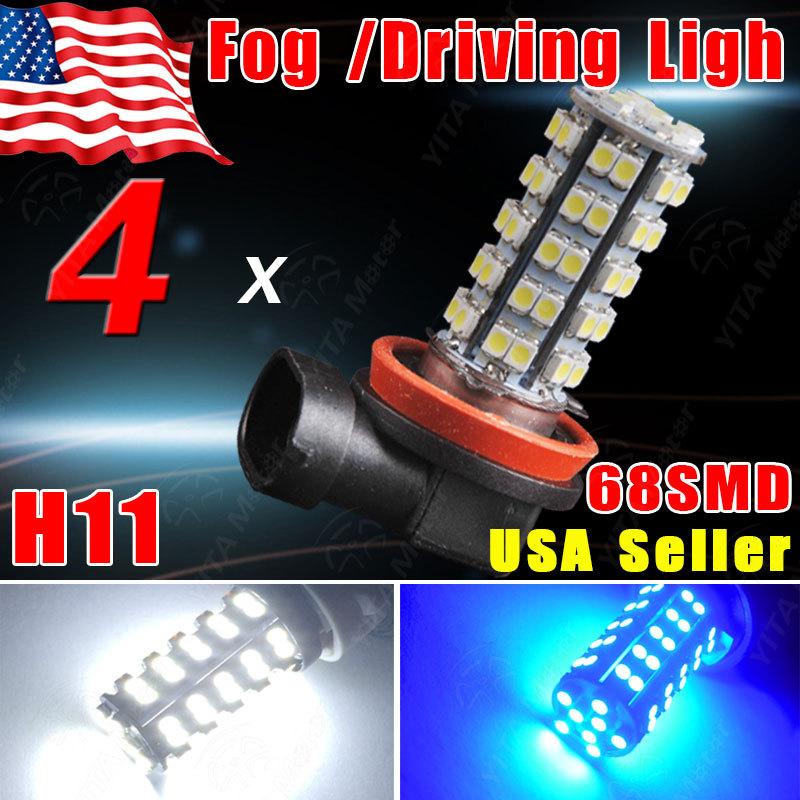 Big Promotion 4Pcs LED Car h11 led Light Bulbs 12V 600LM White /Blue H11 3-cell 5050 Clips 68SMD Fog Driving DRL Lights Lamps -D(China (Mainland))