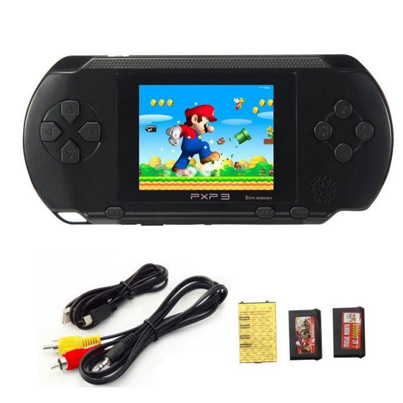2.7 Inch 16 Bit Handheld Game Player PXP 3 Children's Video Game Console Retro Classic Games with 2 Game Cards TV Out(China (Mainland))