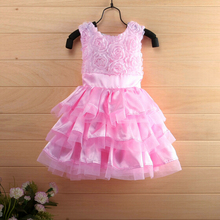 2016 New Pink Flower Baby Girl Dress Christening Gowns 1 year birthday dress(China (Mainland))