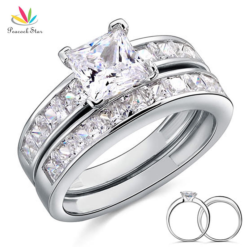 Solid 925 Sterling Silver 2 Pc Wedding Ring Set Wholesale Drop Shipping 1 Car