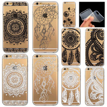 Phone Case Cover for iPhone 4 4S 5 5S 5C 6 6S 6Plus 6s Plus Soft Vintage White Black Paisley Datura Flower Mandala Capa Celular