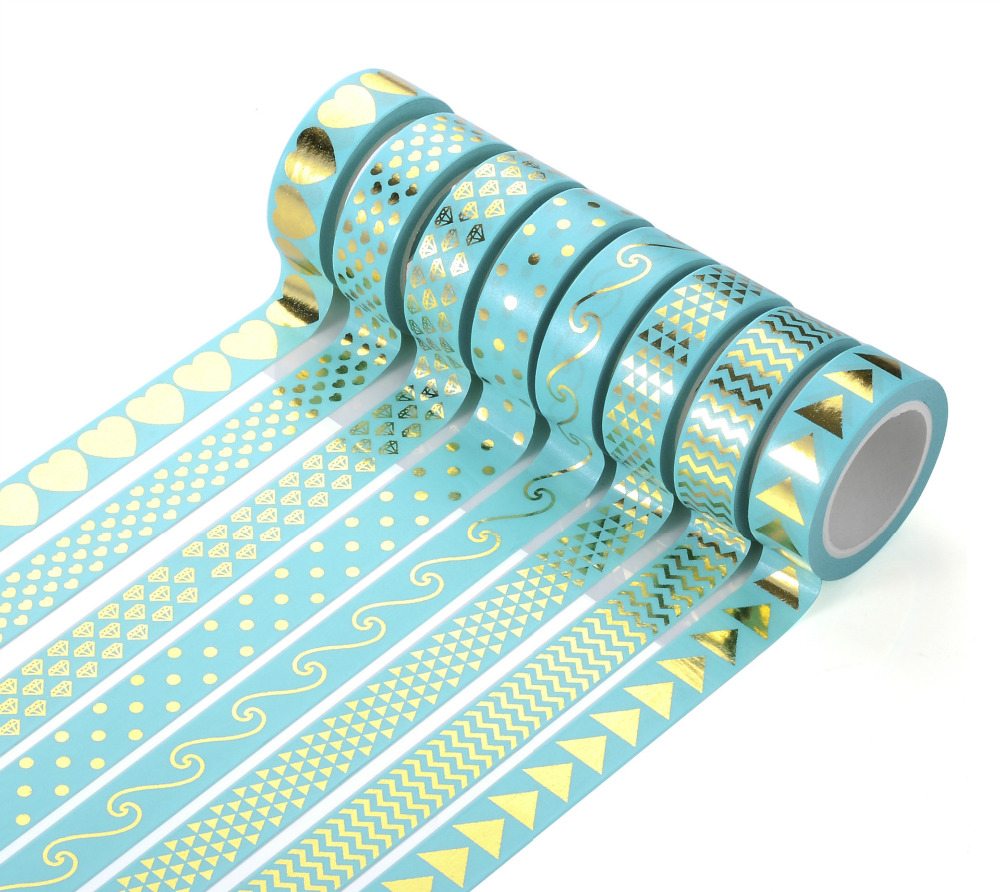 26 Styles Gilding Decorative Washi Tape Gummed Tape Sticky Paper Masking Adhesive Tapes Scrapbook Planner Notebook Decoration
