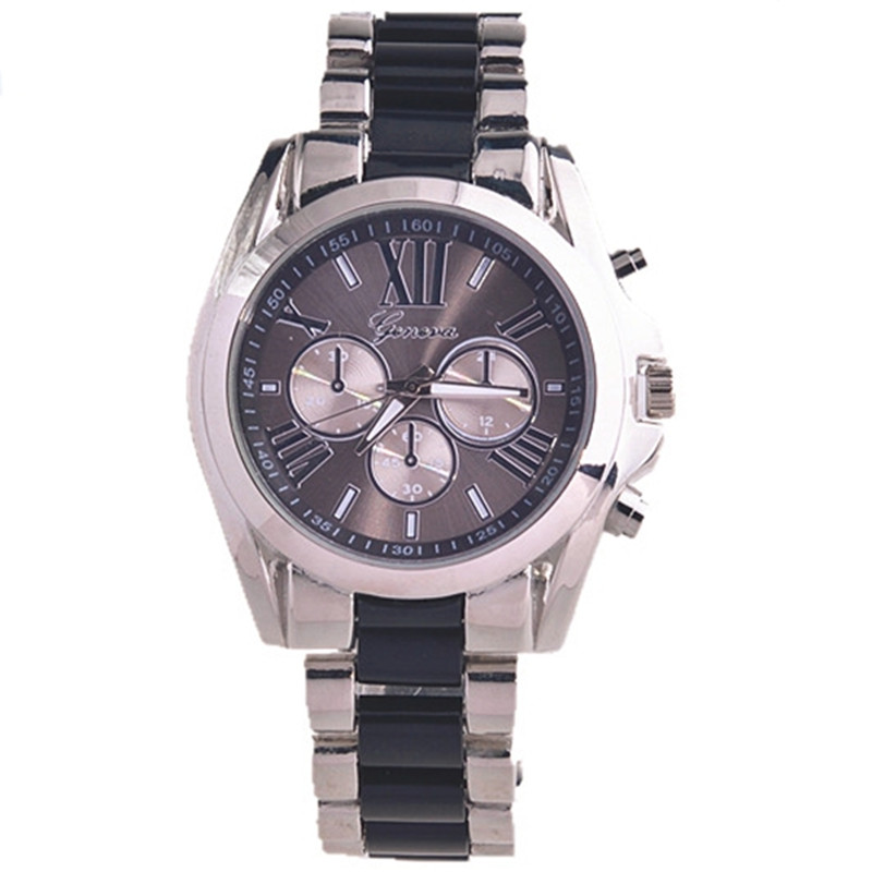 New 2016 Geneva brand lucky gifts for Women fashion Roman Numerals special metal&plastic mixed band men luxury quartz watch(China (Mainland))