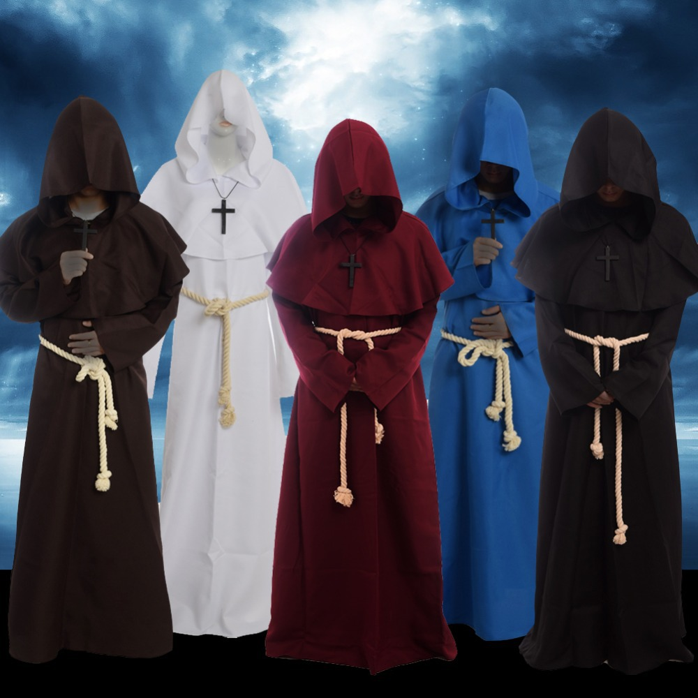 Medieval Renaissance Monk Costume Cowl Friar Clothing Priest Hooded Robe Cloak Cape Cosplay(China (Mainland))