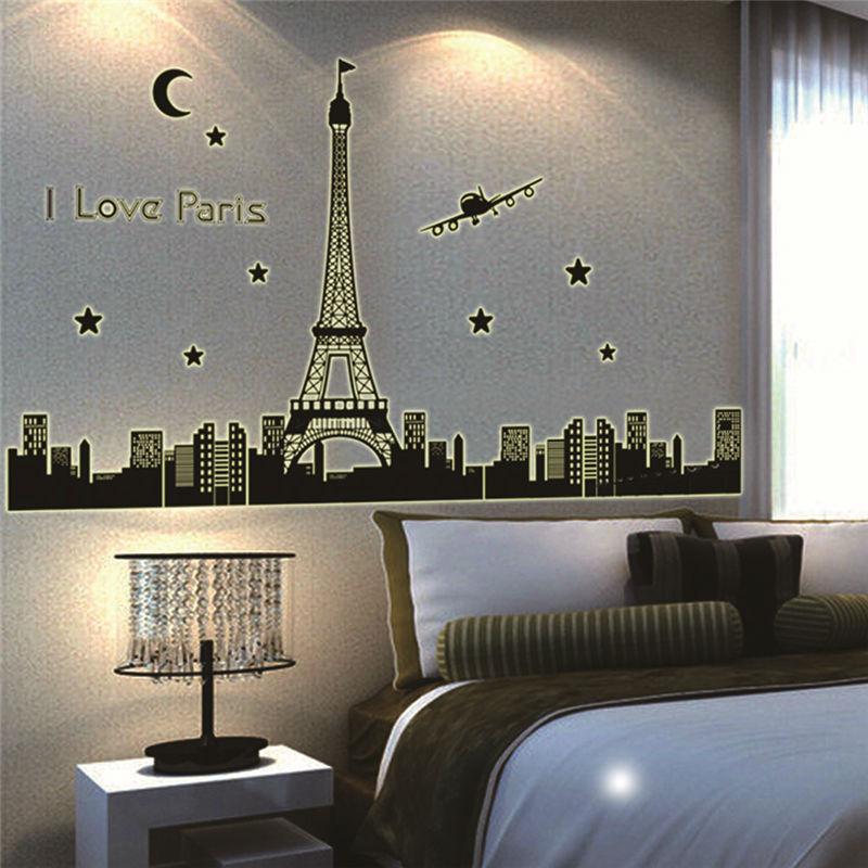 Koop ik hou van parijs eiffeltoren gloed in het donker muurstickers slaapkamer - Decoratie themakamer paris ...