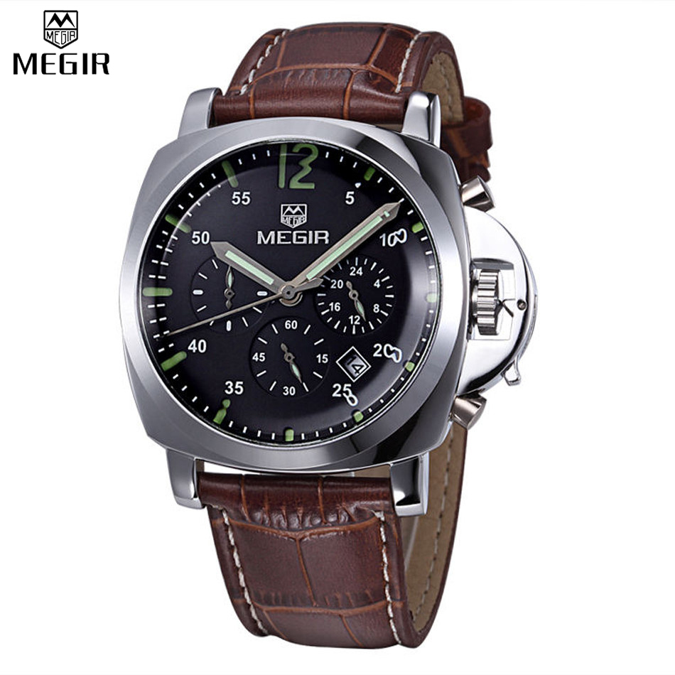 2016 Men Military Stylish MEGIR Brand Design Army Business Calendar Multi Function Male Clock Sport Luxury Watches ML3006GBN-1(China (Mainland))