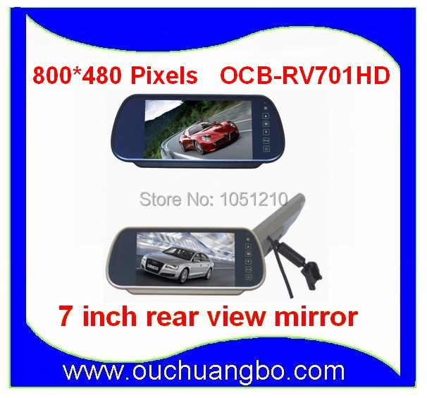 Фотография 7 inch HD 800*480 touch screen Rear View Reverse Mirror Monitor Can play VCD  DVD GPS displayer OCB-701HD