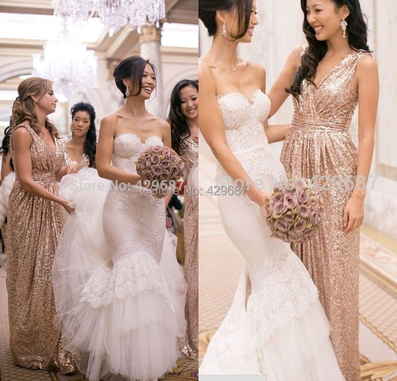2016 Rose Gold Sequins Bridesmaid Dresses V Neck A Line Floor Length Maid Of Honor Champagne