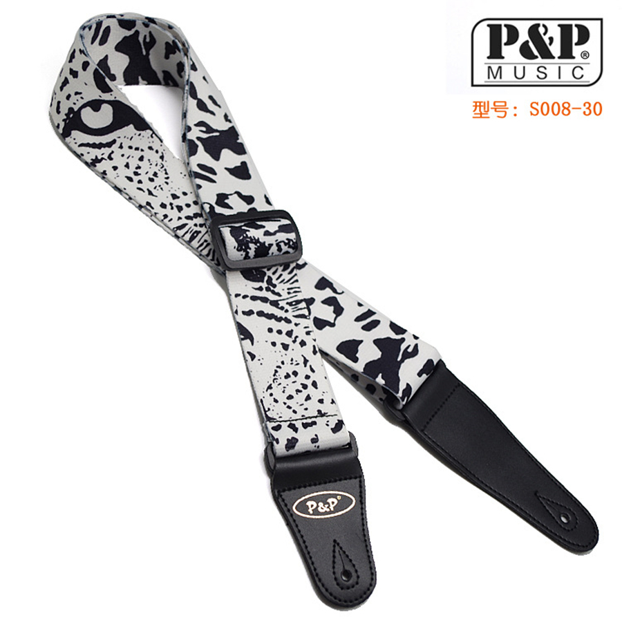 P&P 150cm Acoustic Electric Dacron Guitar Strap White/Black Electric Wound Bass Guitar brand straps(China (Mainland))