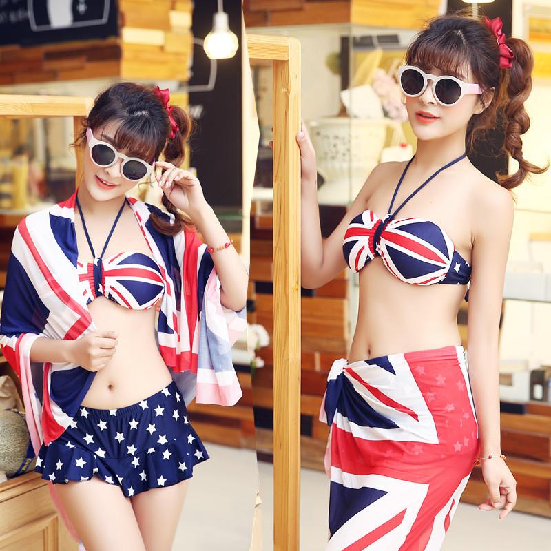 2015 swimsuit bikini women three-piece cover up women bikini sexy high neck halter top swim skirt crochet lace shorts plus size(China (Mainland))