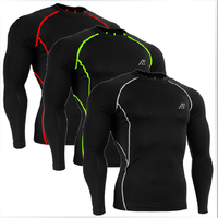 Compression Base Layer FIXGEAR Long Sleeves Fitness Shirts Skin Tight Running Training Weight Lifting Tops Three Colors  XS-4XL