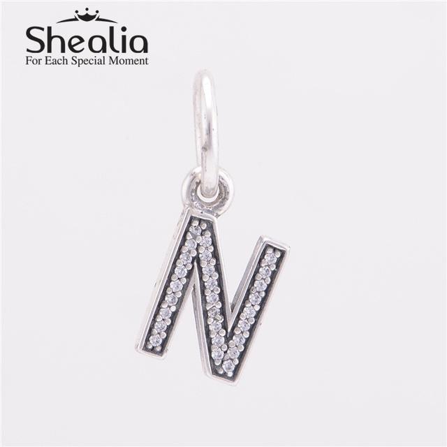 Аутентичные стерлингового серебра 925 письмо н мотаться подвески подвеска с четкими CZ для женщин известный браслеты сделай сам ювелирное LE13N