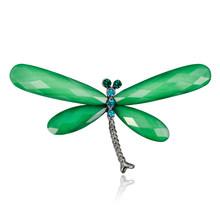 Multicolor Acrylic Batal Sayap Kuning Merah Hijau Dragonfly Serangga Bros untuk Wanita Musim Panas Gaya Bros Pins Perhiasan Aksesoris(China)