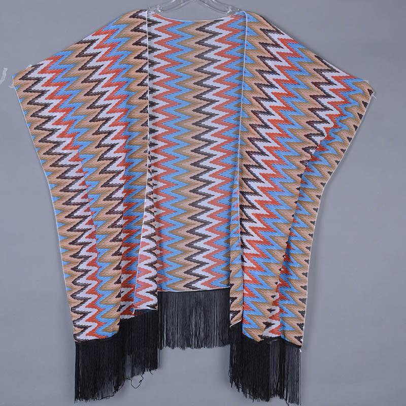 New zigzag wave Printed black Blouse Tassel Fringe Shawl Kimono dress Coat Jacket Europe USA Style Loose Casual Blusa wholesaleОдежда и ак�е��уары<br><br><br>Aliexpress