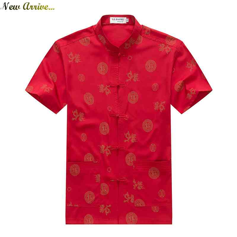 Free Shipping middleaged mens shirt collar buttons printed short sleeve new China wind Tang national loading and dad 1(China (Mainland))