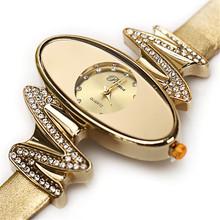 Fashion Waterproof Retro Gold Women Quartz Watches Diamond Dots Oval Dial Leather Lady Dress Wristwatches Relogio Feminino Clock