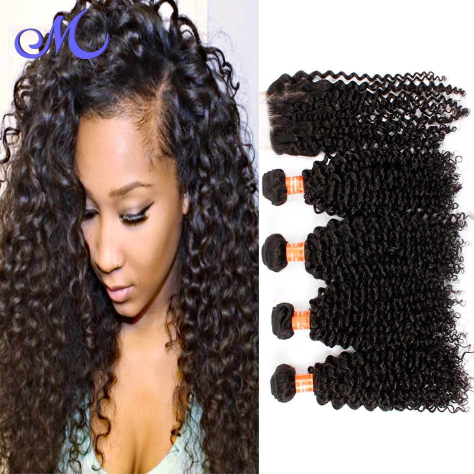 Brazilian Virgin Hair With Closure 4 Pcs Human Hair Bundles With Lace Closures Unprocessed Brazilian Curly Hair With Closure