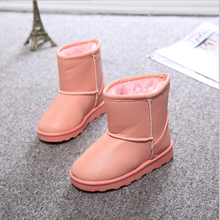 2016 New Winter Children Shoes PU Leather Waterproof Boots Natural Fiber Slip Kids Snow Boots Brand Girls Boys Rubber Boots(China (Mainland))