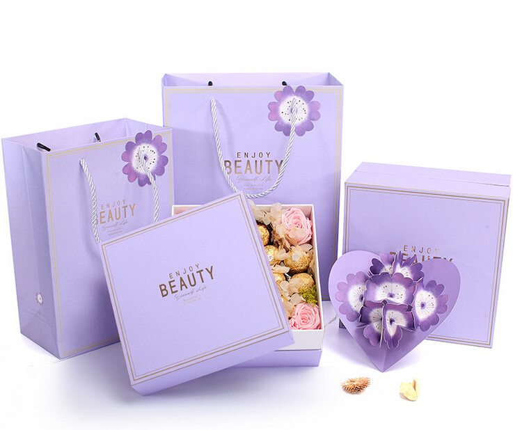 Flower Bloom Gift Box Set Cosmetic Box Square Packaging With Gift Bag Greeting Cards For Wedding Party Mother's Day Festival(China (Mainland))