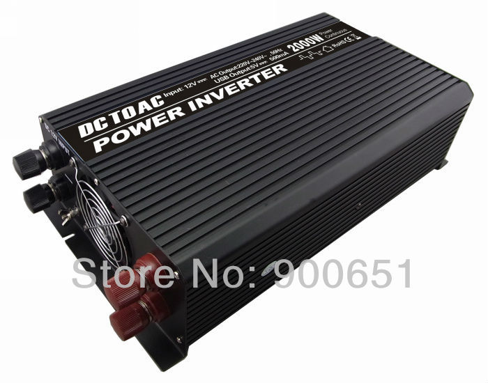 Wholesale! high quality 2000watt car power inverter DC12V to AC220V with cooling fan 5V USB charge,3 output ports(China (Mainland))