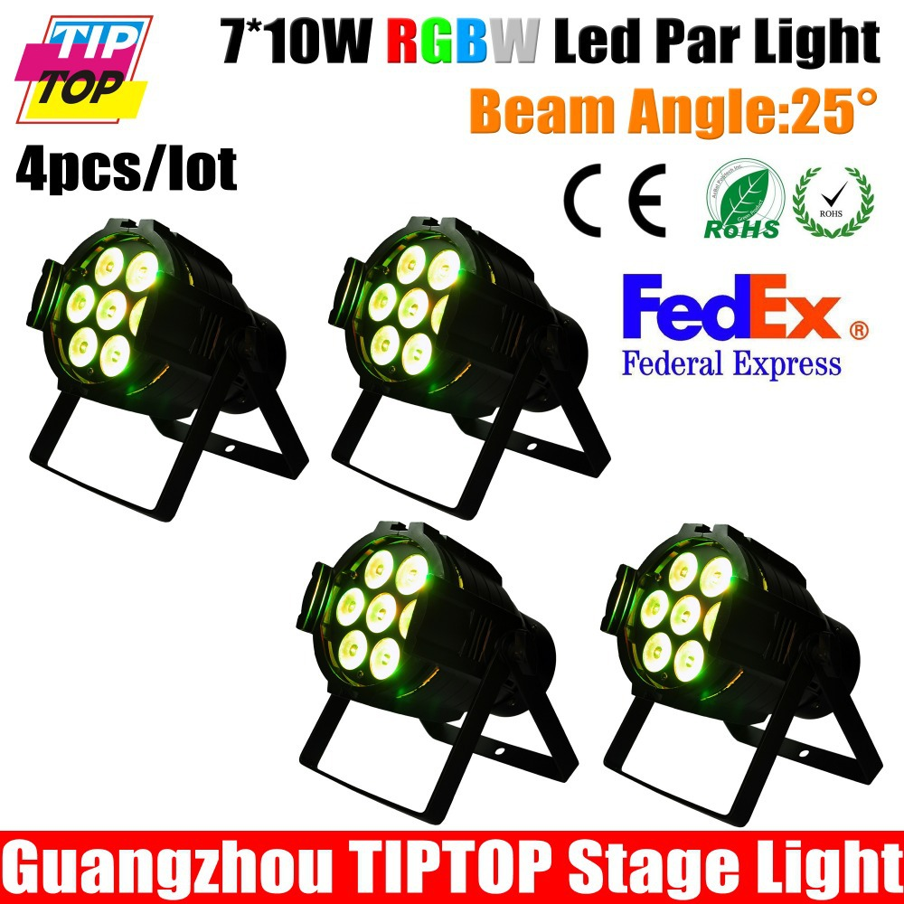 Aluminum Case 4pcs/lot 7*10W 4IN1 Led Par Light RGBW Mini Size Led Par Can Long Life Time Big Lens with Good Performance TIPTOP(China (Mainland))