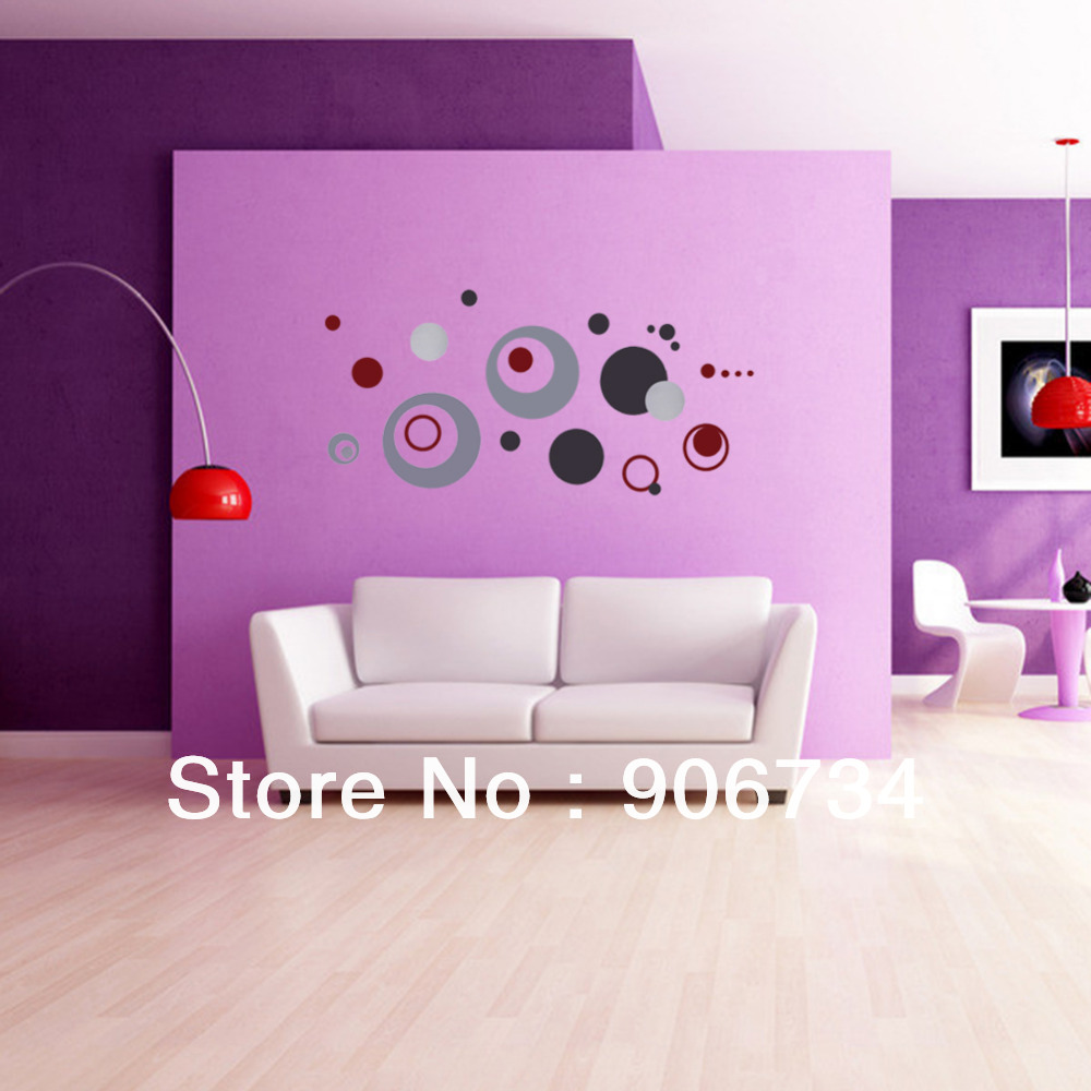 Home Decoration Crafts DIY Colorful Circle Removable Wall Stickerr Vinyl Decal Art Mural  Free Shipping