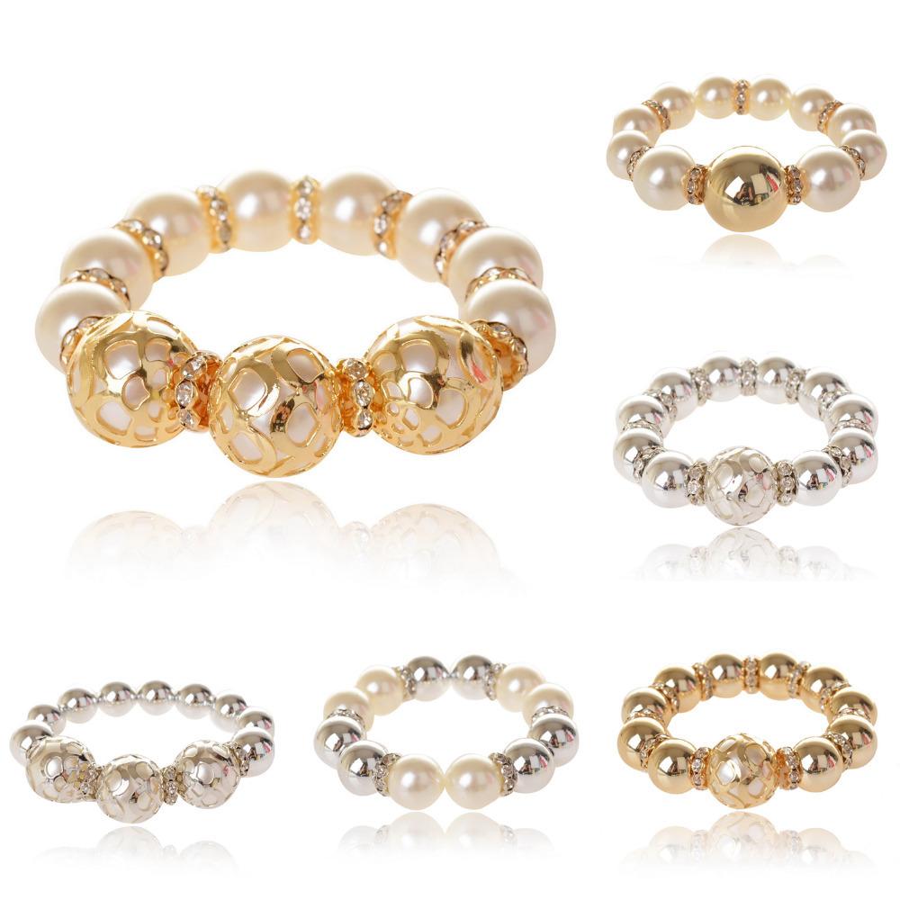 bracelets bangles pearl hollow beads gem rhinestone spacer