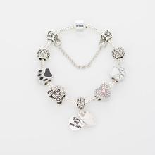 Fashion Jewelry 11 Style Crown charm Bracelets & Bangles Blue Glass European Beads fits Pandora bracelets for Women Gift(China (Mainland))