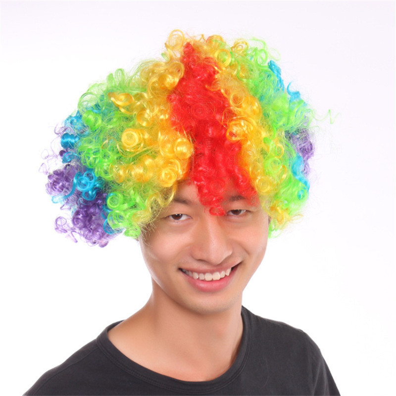 Halloween Party Kinky Afro Wigs Christmas Cosplay Hairs Clown Funny Short Wig Football Fans Wigs(China (Mainland))