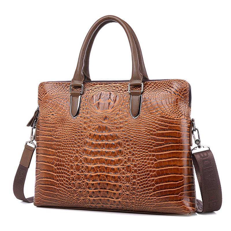Luxury Crocodile pattern Genuine Leather Laptop bag men Fashion Casual Business Travel bag men tablet notebook bag 2016 new(China (Mainland))