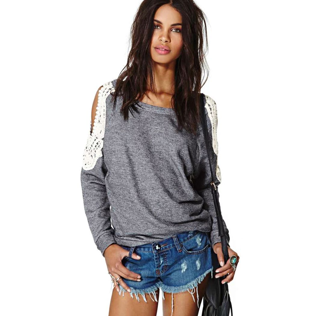 sweatshirt 2015 new casual loose long sleeve pullover hoodie sweatshirt women lace hoodies women. Black Bedroom Furniture Sets. Home Design Ideas