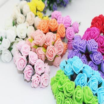 2.5CM Multicolor PE Rose Foam Mini Flower Bouquet Solid Color/wedding decoration tule Silk artificial Flowers (144pcs/lot)HD009