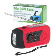 2015 New Arrival HOT! Emergency Solar Hand Crank FM Radio, MP3 Player, Flashlight, Smart Cell Phone Charger with USB Cable Red