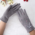 Female Gloves Beautiful Flower Lady Girl Cycling Luvas Winter Cashmere Gloves Keep Warm Bow Mittens Women