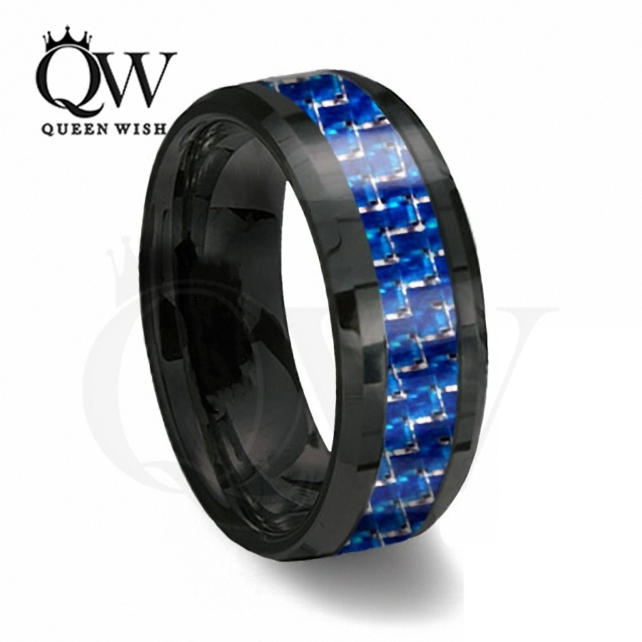 Queenwish 8mm Black and Blue Carbon Fiber Tungsten Ring Blue Infinity Mens We